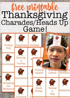 While you're in the kitchen working on preparing your family's Thanksgiving feast, it's great to have some activities planned for the kids to enjoy! This free printable Thanksgiving Charades / Heads Up game is a ton of fun for them to play! Thanksgiving Family Games, Thanksgiving Traditions, Thanksgiving Parties, Thanksgiving Crafts, Thanksgiving Table, Family Traditions, Fall Crafts, Heads Up Game, Charades For Kids