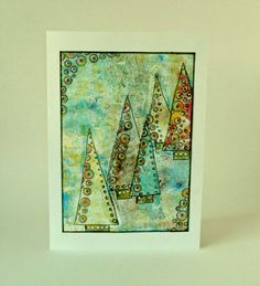 Christmas Card With My Gelli Printing Plate by Itsamistry Design Studio`