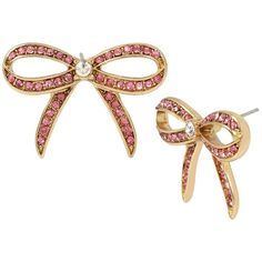 Betsey Johnson Marie Antoinette Pink Bow Button Earring (65 BAM) ❤ liked on Polyvore featuring jewelry, earrings, pink, antique gold earrings, betsey johnson, bow jewelry, stud earrings and bow stud earrings