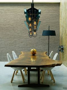 Contemporary Dining Room with interior wallpaper, Concrete floors, Standard height, Live edge wood table, Pendant light Dining Room Design, Dining Room Table, Wood Table, Slab Table, Table Legs, Dining Set, Interior Wallpaper, Interior Decorating, Interior Design
