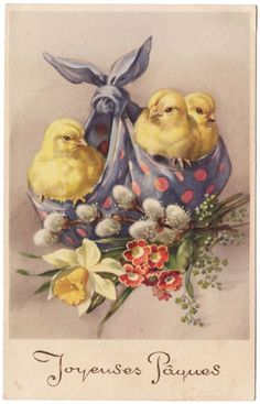 Set of TWO French Vintage Easter Chicks Fabric Blocks - Great for Quilting, Pillows & Wall Art - cards for messenger Set of TWO French Vintage Easter Chicks Fabric Blocks - Great for Quilting, Pillows & Wall Art - Buy Get 1 FREE Easter Art, Easter Crafts, Easter Bunny, Vintage Greeting Cards, Vintage Postcards, French Postcards, Decoupage, Diy Ostern, Easter Parade