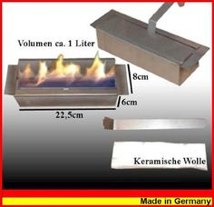 Adjustable Stainless Steel Burner Insert An adjustable 1 liter stainless steel burner for use with gel or liquid fuel bioethanol Has a very long burn time: with medium flame for about 9 hours. Dimensions are :   Width: 22cm, height: 6cm, depth: 7cm, weight: 1.5kg Unit comes filled with ceramic wool to give a beautiful flame at an affordable cost. Around £59