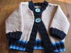 Keep on Truckin' Baby Cardigan by Elizabeth Smith (front view)