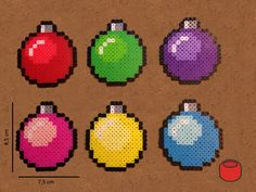 Christmas Bauble Pixel Bit Art Ornaments and Magnets made from Perler Beads by DJbits