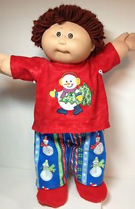 "Cabbage Patch DOLL CLOTHES ONLY/16"" Boy (or girl) Christmas Snowman PJs Outfit"