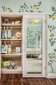 """How can I get more space in the nursery closet?"""" We'll give you some smart small nursery closet ideas which will maximize closet space. Nursery Mirror, Nursery Room, Nursery Decor, Nautical Nursery, Project Nursery, Bedroom Decor, Nursery Ideas, Nursery Murals, Fairy Nursery"""