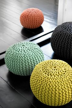 Knitted floor pillows by danish design company Ferm Living.  Not a pattern but an interesting idea