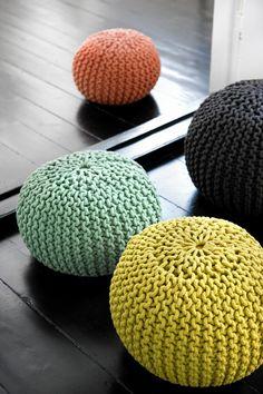 Knitted floor pillows by danish design company Ferm Living.  Not a pattern but an interesting idea