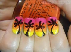 Pink Yellow Orange gradient wet make up sponge technique with easy free hand black palm trees nail art