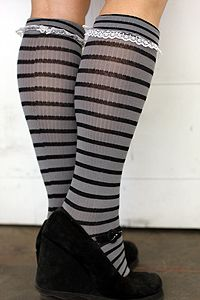 Nouvella Striped Knee Highs with Lace - Grey and Black