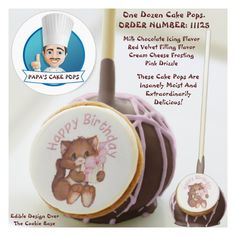 Shop Order Number 11057 Cake Pops created by PAPASCAKEPOPS. White Chocolate Icing, Chocolate Filling, Chocolate Flavors, Baby Boy Cakes, Cakes For Boys, Girl Cakes, Birthday Cake Pops, Happy Birthday Cakes, Happy Birthday Kitten