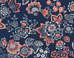 French Navy Jacobean from Quilting Treasures - Coral, Navy, and Cream Jacobean Floral Fabric