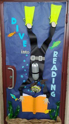 """Classroom door decoration for Teacher Appreciation Week. """"dive into reading"""" Classroom door decoration for Teacher Appreciation Week. """"dive into reading"""" Teacher Door Decorations, School Decorations, School Themes, School Displays, Classroom Displays, Classroom Themes, Ocean Themed Classroom, Ks1 Classroom, Library Displays"""