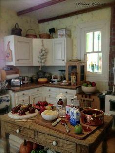 Kathleen Holmes. Dollhouse, miniature kitchen.