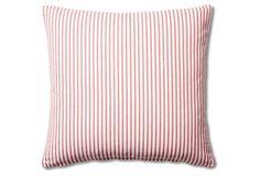 Ticking 20x20 Cotton Pillow, Red