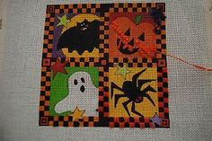 Renaissance Designs Halloween Needlepoint Canvas w/ fibers