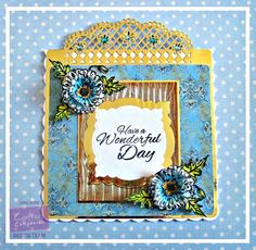 Dream Laine: Blue poppy beauty. Freebies from Crafter's Inspiration 7 - Summer: Perfect Partners Poppy Die Set and Stamp Set (poppy petals, leaves, bud. centre and sentiment). 5'' x 4'' Embossing Folder Woodgrain Template, used here with Gesso - Spectrum Aqua markers: Aquamarine, Teal, Peacock Blue, Meadow, Moss, Sunflower, Orange. Die'sire Fancy Edge'ables - Doily Lattice Crafter's Companion Die'sire Essentials - Decorative Frame 1 Die - Kraft Card - #crafterscompanion #spectrumaqua #floral