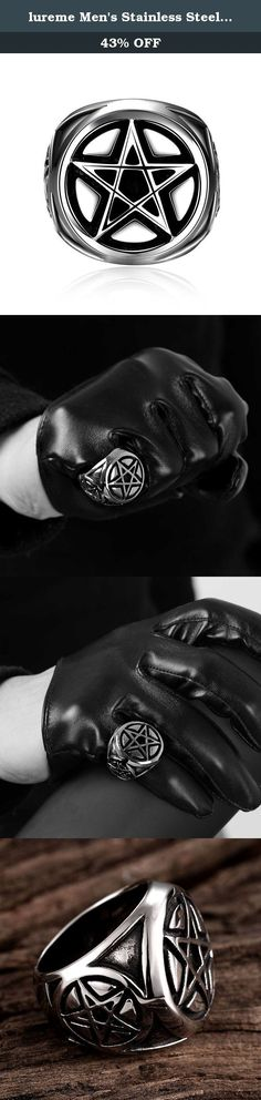 lureme Men's Stainless Steel Ring Silver Tone Black Pentacle Pentagram Round Signet (04001492-2). Our registered brand: lureme lureme dedicate to sourcing and selling unique and trendy fashion jewelry and accessory, with the environment friendly material and expert finishing techniques, we have confidence to supply customers the high quality products with fair prices. Each piece lureme sell is hand-checked for quality, and we are proud to offer a 100% customer satisfaction guarantee. It's...