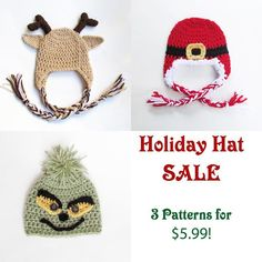 Looking for your next project? You're going to love SALE Santa, Reindeer & Grinch Hats by designer TampaBayCrochet.