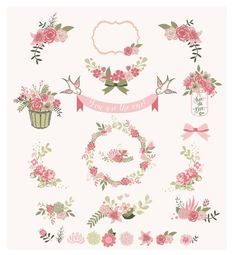 Flower frames and birds Digital Clipart Ribbons by BlackCatsMedia Watercolor Projects, Watercolor Print, Frame Rosa, Clipart, Watercolor Flower Wreath, Wreath Drawing, Floral Banners, Art File, Flower Frame