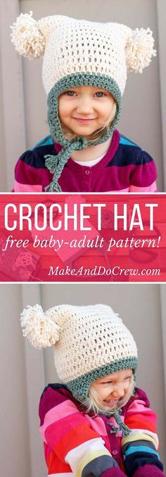 This free crochet beanie pattern is perfect for beginners because the skills involved aren't much harder than making a scarf. Free pom pom hat pattern in sizes baby (newborn), 3-6 months, 6-12 months, toddler/preschooler, child, teen/adult. | MakeAndDoCrew.com
