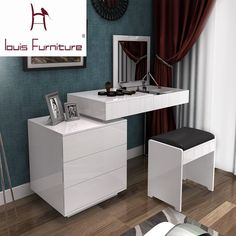 Fashion white paint small apartment telescopic minimalist modern computer desk dresser bedroom dresser combination of dual-use