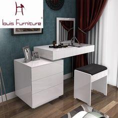 Fashion white paint small apartment telescopic minimalist modern computer desk dresser bedroom dresser combination of dual-use