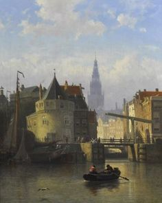Johan Conrad 'Coen' Greive (1837-1891) A view of Amsterdam, seen from the IJ, with the Schreierstower, oil on canvas. Collection Simonis & Buunk, The Netherlands