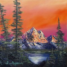 """Saatchi Art is pleased to offer the painting, """"Mountains in Canada - original oil painting landscape,"""" by Nino Ponditerra, available for purchase at $709 USD. Original Painting: Oil on Canvas. Size is 15.7 H x 15.7 W x 0.8 in. Simple Oil Painting, Modern Oil Painting, Oil Painting Flowers, Oil Painting Abstract, Rainbow Painting, Oil Painting Pictures, Pictures To Paint, Oil Painting Background, Portrait Background"""