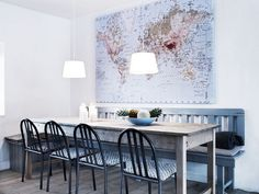 Dinning Room Inspiration: table with bench and matching chairs with a beautiful map in the background Dining Room Design, Dining Room Table, Dining Area, Banquette Dining, Table Bench, Kitchen Tables, Chair Bench, Table Seating, Bench Seat