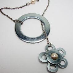 Metal Hardware Washer Lariat Necklace Flower by PerfectPairJewelry on Etsy
