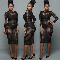 Sexy Black Transparent Caged Clubwear Dress