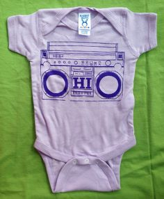 OHIO BOOMBOX unique original screen printed one piece creeper purple lavender lilac radio stereo boom box music hip hop girls baby infant on Etsy, $12.00