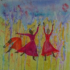 Rain Down  Gwen Meharg  This was painted at the National Christian Dance Fellowship Prophetic Dance Conference in Dallas Texas the first weekend of August 2001.  Over four hundred gathered to worship Jesus in dance, song, and spirit!  It was marvelous.