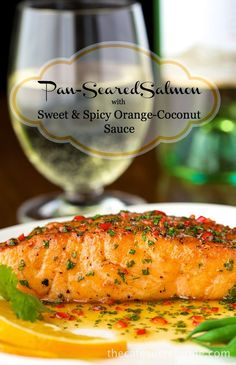 Pan-Seared Salmon with Orange-Coconut Sauce - This one is as delicious as it looks! The sweet and spicy sauce adds an amazing layer of flavor to the salmon. ***this sauce sounds delicious Salmon Dishes, Fish Dishes, Seafood Dishes, Fish Recipes, Seafood Recipes, Cooking Recipes, Healthy Recipes, Recipies, Healthy Eats