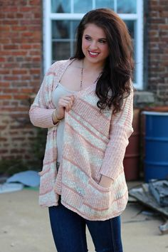 Cold Weather Dreams Cardigan {Cream/Light Pink}   The Fair Lady Boutique
