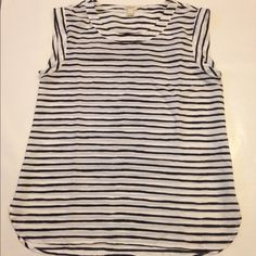 Black/white stripe crepe sleeveless top A black and white stripe crepe sleeveless top from J. Crew Factory. 100% polyester. Size small runs a little big J. Crew Tops Blouses