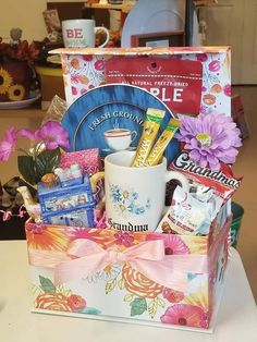 Birthday Gift Baskets, Birthday Gifts, Welcome Home Basket, Grandmother Birthday, Hello Kitty, Frozen, Birthday Presents, Grandma Birthday, Anniversary Gifts