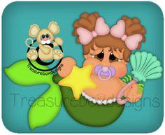 Sea Babies Mermaid - Treasure Box Designs Patterns & Cutting Files (SVG,WPC,GSD,DXF,AI,JPEG)
