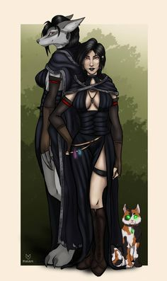 My warlock Juliette and her cat Bryx by Foxiart on DeviantArt Fantasy Characters, Fantasy Artwork, Character Portraits, Werewolf Girl, Creature Art, Warcraft Art, Fantasy Creatures, Fantasy Character Design, Anime Halloween
