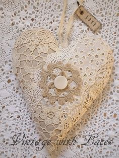 Vintage Lace and Fabric Heart with LOVE Tag