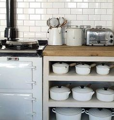 Dream kitchen - white, stainless steel and wood - le creuset, aga, enamelware, dualit