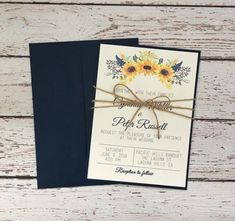 Best Images 62 Trendy wedding invitations rustic sunflower Thoughts Wedding Invitation Cards-Our Tips When the time of your wedding is fixed and the Area is booked, onl Wedding Invitation Trends, Sunflower Wedding Invitations, Simple Wedding Invitations, Rustic Invitations, Wedding Invites Rustic, Navy Rustic Wedding, Sunflower Weddings, Event Invitations, Invitations Online
