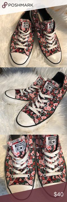 Converse Flower 🌸 All Star Gently worn. Lots of tread! Converse Shoes Sneakers