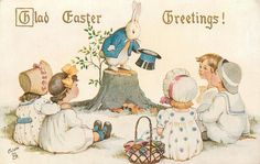 Divided Back Postcard Glad Easter Greetings! Holiday Postcards, Vintage Postcards, Holiday Cards, Vintage Children's Books, Vintage Cards, Easter Parade, Easter Traditions, Easter Art, Arte Pop