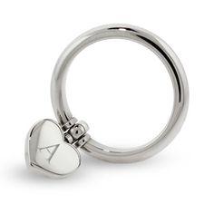 Engraved Stainless Steel Dangle Heart Ring, $28