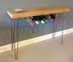 """Hairpin console table idea- buy reg under cab wine rack for use Wine Rack / Bar made from Reclaimed Wood w/ Hairpin Legs. Built by Hand. Guaranteed for Life. Ships for Free 48""""L x 11.5"""" x 30""""H"""