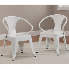 Kids Tabouret Stacking Chairs (Set of 2) (White) (Metal)