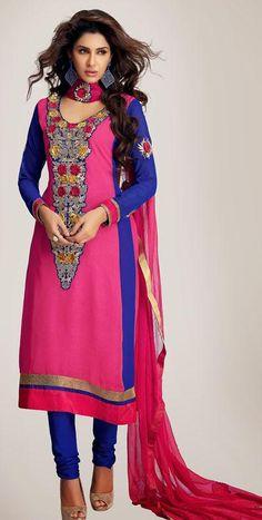 $73.98 Pink Faux Georgette Embroidered Long Churidar Salwar Kameez 25245