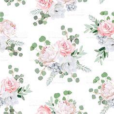 Симпатичный букетов розы Анемона, Бруния цветы и листья eucaliptis Сток Вектор Стоковая фотография